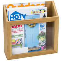 MyGift Wall Mounted Natural Bamboo Wood and Clear Acrylic Magazine Holder Rack
