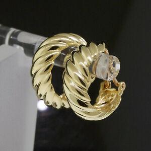 Vintage Hermes 18K Yellow Gold Clip On Cable Twist Hoop Earrings