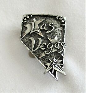 Silver Toned Metal Las Vegas State of Nevada Bolo Tie Medallion * New