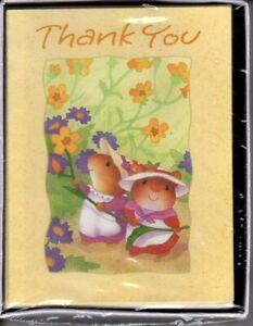 Sangamon Vintage Mice Picking Garden Flowers Thank You Cards - Set of 8 Cards