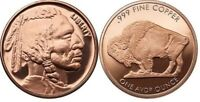 1 OZ .999 PURE COPPER BULLION ART-ROUND/COIN: INDIAN HEAD WITH BUFFALO