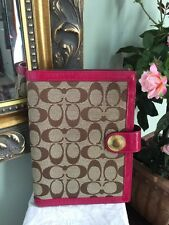 Coach Signature Agenda Planner Brown Pink Patent Leather Gold B2C