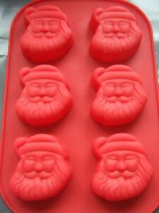 Silicone Santa Father Christmas 6 Cup Muffin Mould Cake Tin Pan