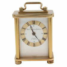 Van Cleef & Arpels 8 Days Vintage Brass Silver Dial Hand Wind Table Alarm Clock