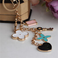 Crystal Flower Heart Key Ring Keychain Holder Purse Bag Charm Ring Gift Jewelry