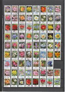 BRD: Dauerserie Blumen, 81 !! verschiedene, schöne (Voll)Stempel