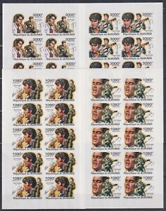 F459. 10x Burundi - MNH - Famous People - Elvis Presley - 2011 - Imperf