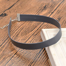 1PC Gray Punk Chain Jewellery Leather Charm Retro Collar Necklace Choker Gift #