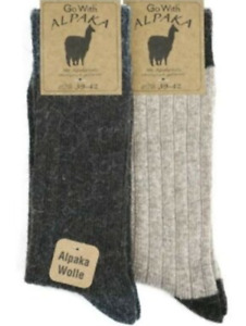 100% Natural Alpaca and Soft Wool Socks, 2 Pairs, Man, Woman cold weather, thick