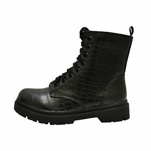 Soda GRUNGE BLACK CROCODILE Women's High Ankle Lace Up Vegan Combat Boots