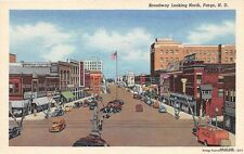 FARGO ND 1943 Broadway Street Looking North Stores Cars Coca-Cola Delivery Truck