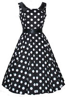 Retro Vintage 40s 50s Black Collar Polka Dot Swing Jive Party Tea Dress New 8-18