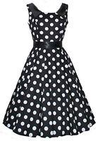 Retro Vintage 40s 50s Black Collar Polka Dot Swing Jive Party Tea Dress New 8-18
