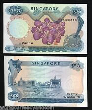 SINGAPORE $50 P5D 1973 BOAT ORCHID UNC HSS BRUNEI CURRENCU MONEY BILL BANK NOTE