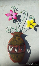 """""""Vase with Yellow and Pink Flowers"""" 25"""" Hand Crafted Porch Patio Wall Indoor Art"""