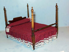 FOUR POSTER BED WITH BEDDING DOLLHOUSE FURNITURE MINIATURES