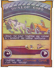 GEO HAM 1922 FRENCH MAG COLOR AD DUNLOP CORD TIRES
