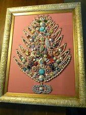 Vintage Jewelry Display - Framed Christmas/Holiday Tree - Pink Fabric/Gold Frame