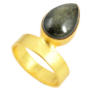 Daily Deals Sheen Black Obsidian Gemstone Jewelry Ring For Her Size 7.5 F3334