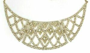 Alexis Bittar Gold-Tone Crystal Encrusted Lattice Bib Necklace