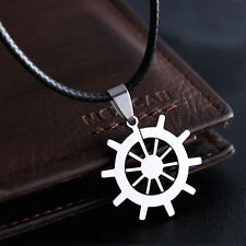 Mens Unisex Stainless Steel Leather Necklace Pendant Wheel Ship L19
