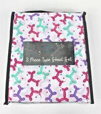Wonder Studio Balloon Dog Animal Twin 3 pc Sheet Set Kids Pink Purple Aqua New