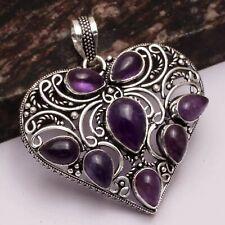"Amethyst Ethnic Handmade Heart Pendant Jewelry 2.2"" AP 18424"