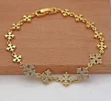 18K Gold Filled Hand Chain Zircon Topaz Snowflake Flower Cross Party Bracelet DS