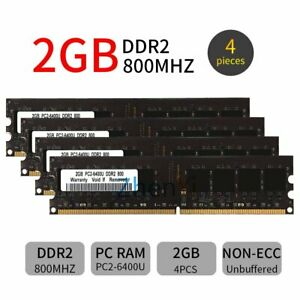 8GB Kit 4x 2GB DDR2 PC2-6400U 800MHz 240Pin DIMM intel Desktop Memory RAM Black