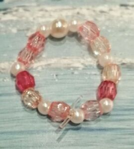 White Faux Pearl Pink Acrylic Seed Bead Stretch Ring