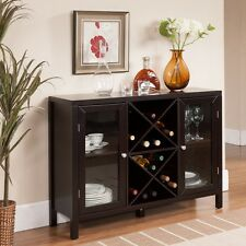 Espresso Wine Rack Bottle Holder Table Storage Bar Wood Liquor Cabinet Decor