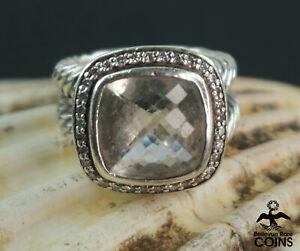 David Yurman Sterling Silver Faceted Light Blue Topaz & 0.064 CTW Diamond Ring