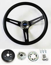 "13 1/2"" Black on Black Steering Wheel Fits Ididit Flaming River Column Ford Cap"