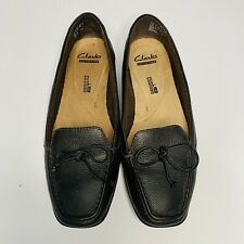 Clarks Collection Women's Loafer Slide On Brown Leather Shoes Leather Lace Bow 7