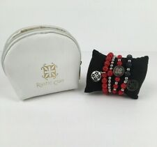 Rustic Cuff Set/4 Red, Blue & Silver Ireland & Kaleidoscope Bracelets Patriotic