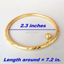 Ba3 7in Bangle Bracelet Gold Plated Women Girls GP Thai Bell Openable Open Charm