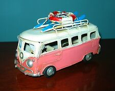 "VW Bus Model 6 1/2"" Lng PINK SURFER MODEL- Tin Model  LOVE, PEACE and WOODSTOCK!"