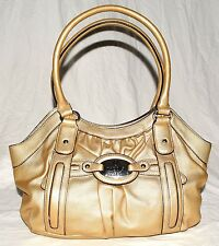 Nicole by Nicole Miller Gold w/ Black Accents Pebbled Faux Leather Shoulder Bag