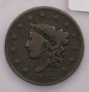 1837-P 1837 Coronet Head Cent 1c ICG VG10
