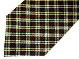 "Pendleton Mens Necktie Tie Navy Blue Beige Burgundy Red Plaid 100% Wool 57"""