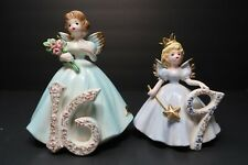 Vintage Joseph Originals Porcelain 9th & 16th Birthday Angels Made in Japan
