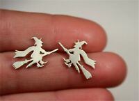 Minimalist Women Witch Broom Earring Ear Studs Silver Earrings Halloween Gift