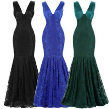 LACE~V Neck Mother Of The Bride Long Formal Evening Prom Dress BRIDESMAID Gowns