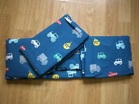 NEXT NAVY BLUE VEHICLE CAR TRACTOR SINGLE  FITTED SHEET & PC SET Goes Bed set