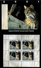 Alberta #6 2001 Bobcat Conservation Stamp Mini Sheet Of 4 In Folder Nh