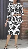 Plus 22W White Black Floral Peplum Skirt Set Ashro Church Career Formal Suit