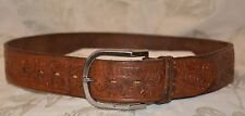 VTG Women's Youth Leather Belt Hand Tooled EUC Length W/ Buckle 34 1/4