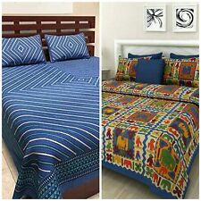 Jaipuri King Size bedsheets Combo of 2 Double Bedsheet with Pillow Cover