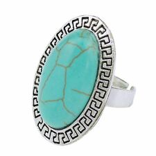 Women Lady Tibet Silver Nature Turquoise Large Oval Finger Ring Cocktail Ring