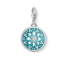 NEW Thomas Sabo Sterling Silver Flower Ornament Charm Disc Turquoise Blue Coin